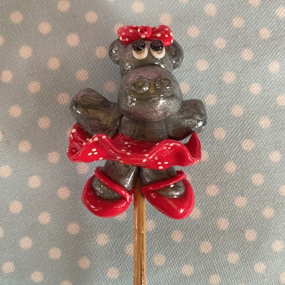 Handcrafted; Clay; Dancing; Hippo; Plant Stick;